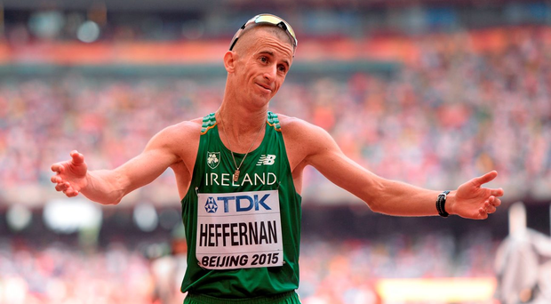 Rob Heffernan of Ireland after finishing 5th in the final of the Men's 50km Race Walk