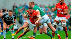 29 August 2015; Alex Cuthbert, Wales, is tackled by Luke Fitzgerald, Ireland. Picture credit: Matt Browne / SPORTSFILE