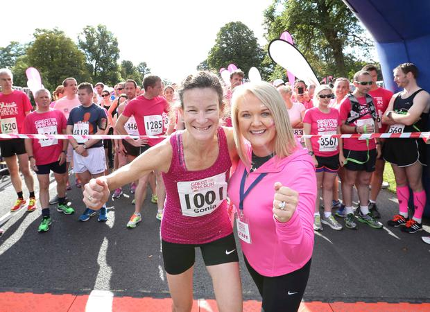 Pictured are (LtoR) Irish Olympian Sonia OSullivan and Aisling Hurley CEO Breast Cancer Ireland with other thousands of men, women and children taking part in the 5th Great Pink Run. Photography: Sasko Lazarov/ Photocall Ireland