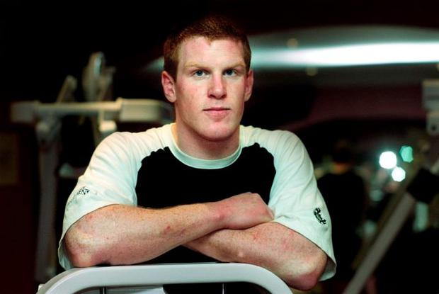 New Irish rugby cap Paul O'Connell training in the gym at the Irish Team hotel last thursday. Photo: Tony Gavin 31/1/02