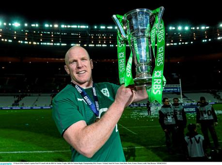 France v Ireland - RBS Six Nations Rugby Championship 2014...15 March 2014; Ireland's captain Paul O'Connell with the RBS Six Nations Trophy. RBS Six Nations Rugby Championship 2014, France v Ireland, Stade De France, Saint Denis, Paris, France. Picture credit: Matt Browne / SPORTSFILE...ABC