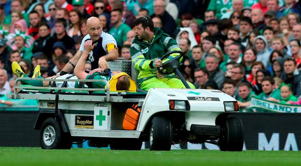 Ireland's Keith Earls gives a thumbs up to the crowd as he's taken off injured during the World Cup Warm Up Match at the Aviva Stadium, Dublin. PRESS ASSOCIATION Photo. Picture date: Saturday August 29, 2015.