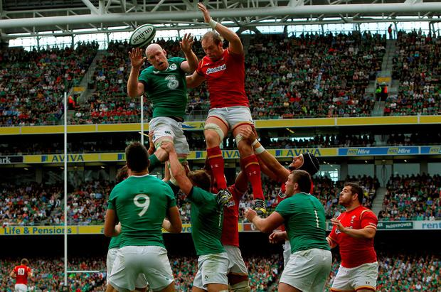 Ireland captain Paul O'Connell wins a lineout against Wales' captain Alun Wyn Jones during the World Cup Warm Up Match at the Aviva Stadium, Dublin. PRESS ASSOCIATION Photo. Picture date: Saturday August 29, 2015. See PA story RUGBYU Ireland. Photo credit should read: Brian Lawless/PA Wire.