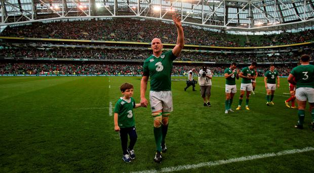 Ireland captain Paul O'Connell and his son Paddy after the World Cup Warm Up Match at the Aviva Stadium, Dublin. PRESS ASSOCIATION Photo. Picture date: Saturday August 29, 2015. See PA story RUGBYU Ireland. Photo credit should read: Niall Carson/PA Wire.
