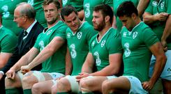 Ireland players (left to right) Jamie Heaslip, Jonny Sexton, Sean O'Brien, and Connor Murray, sit for the team photo during the captains run at The Aviva Stadium, Dublin. .