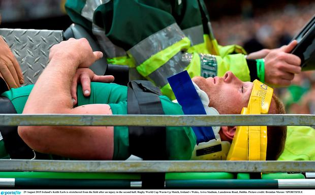 29 August 2015 Ireland's Keith Earls is stretchered from the field after an injury in the second half. Rugby World Cup Warm-Up Match, Ireland v Wales, Aviva Stadium, Lansdowne Road, Dublin. Picture credit: Brendan Moran / SPORTSFILE