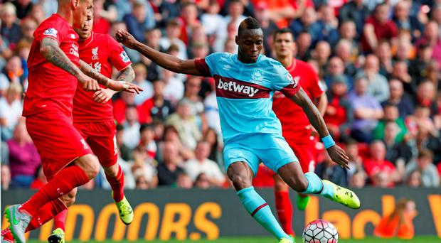 Football - Liverpool v West Ham United - Barclays Premier League - Anfield - 29/8/15 Diafra Sakho scores the third goal for West Ham Reuters / Eddie Keogh Livepic