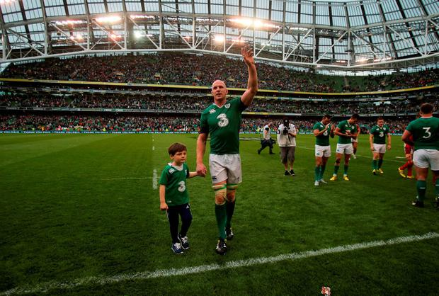 Ireland captain Paul O'Connell and his son Paddy after the World Cup Warm Up Match at the Aviva Stadium, Dublin. PRESS ASSOCIATION