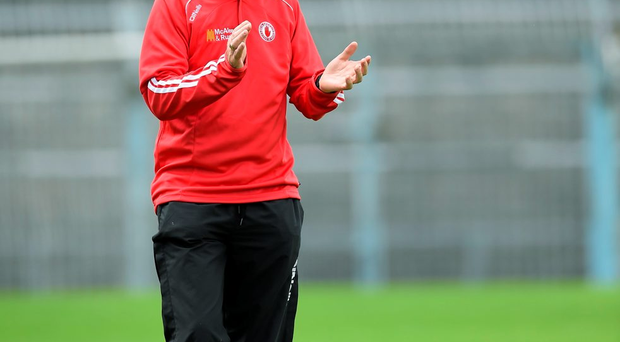 Tyrone manager Mickey Harte during the game