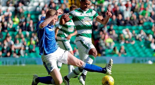 Celtic's Saidy Janko (R) in action with St Johnstone's Brian Easton Action Images via Reuters/ Graham Stuart Livep