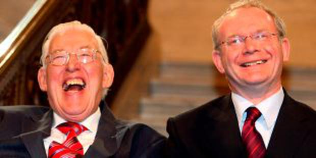 ARE WE HAVING FUN YET? Ian Paisley and Martin McGuinness during their 'Chuckle Brothers' days