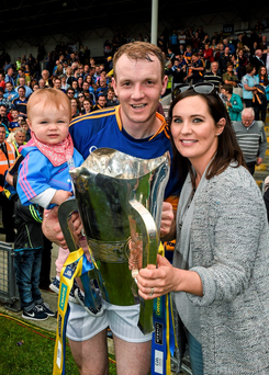 ANGER: Tipperary's Lar Corbett with his wife Elaine and one-year-old daughter Fay after the Munster Hurling Final in Thurles, Co Tipperary, back in June