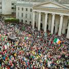 TIDE OF ANGER: Crowds outside the GPO in Dublin's O'Connell Street during the anti-water charges protest