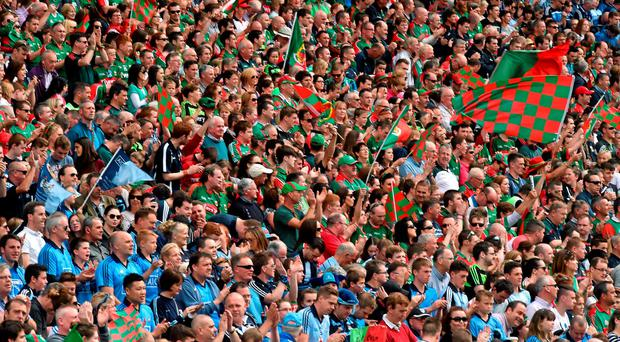 30 August 2015; Mayo and Dublin supporters in the Cusack Stand. GAA Football All-Ireland Senior Championship, Semi-Final, Dublin v Mayo, Croke Park, Dublin. Picture credit: Ray McManus / SPORTSFILE