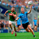 Ciaran Kilkenny, in action against Mayo's David Drake, was the focal point for Dublin's attack in the first half