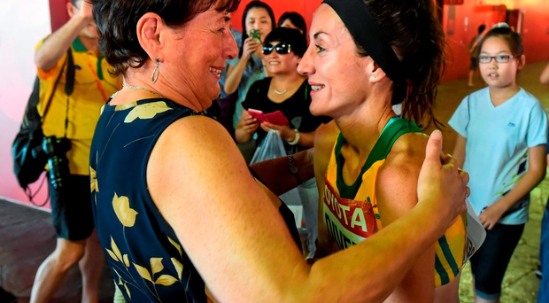 Sinead Diver, from Belmullet, Co. Mayo, representing Australia, with her mother Bridie following her 21st place finish in the Women's Marathon event