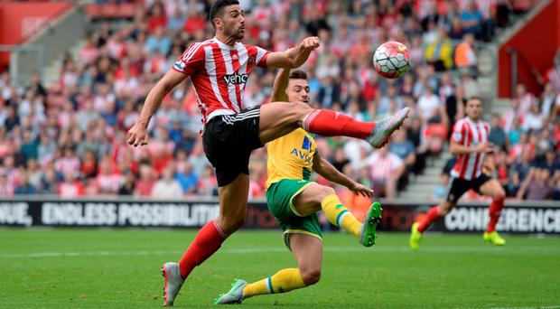 Southampton's Graziano Pelle takes the ball past Norwich's Russell Martin