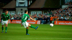 Ian Harte hits a trademark free-kick to put Ireland ahead against Israel at Lansdowne Road in 2005