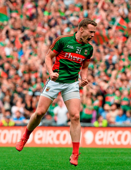 Mayo's Andy Moran celebrates after scoring the equalising point late in the game