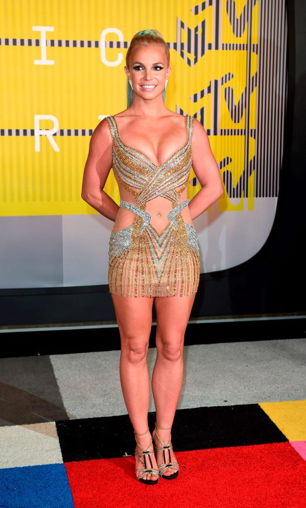 Britney Spears in a shimmering Labourjoisie dress at the 2015 MTV Video Music Awards.