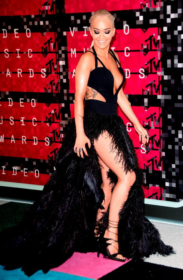 Recording artist Rita Ora arrives on the red carpet at the MTV Video Music Awards