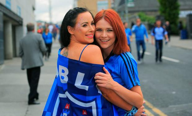 GAA fans Aine McClean from Swords & Martina Fahey from Blanchardstown at the GAA Semi Final between Dublin & Mayo in Croke Park, Dublin