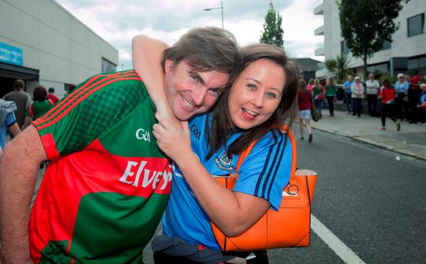 GAA fans (L to R) Michael Lynsey & Kerry Ann Browne Birmingham at the GAA Semi Final between Dublin & Mayo in Croke Park, Dublin