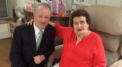 Sean Haughey and his mother Maureen on her 90th birthday