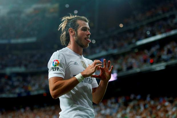 Real Madrid's Gareth Bale celebrates after scoring his side's fifth goal against Real Betis on Saturday