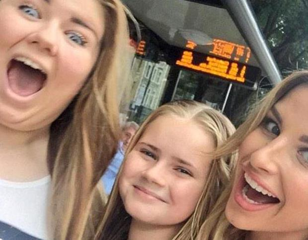 Vogue Williams with Brian McFadden's daughters Mollie and Lilly Sue