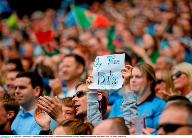 A general view of a sign during the game. GAA Football All-Ireland Senior Championship, Semi-Final, Dublin v Mayo, Croke Park, Dublin