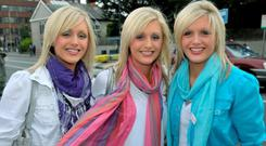 The Crimmins Triplets from Dundalk L to R: Alison, Laura and Nicola Crimmins