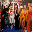 1: Model Martha Hunt. 2: Actress Hailee Steinfeld. 3: Model Cara Delevingne. 4: Recording artist Selena Gomez, and Taylor Swift. 5: Actress Serayah McNeill. 6: Models Lily Aldridge. 7: Model Gigi Hadid. 8: Model: Karlie Kloss. 9: Actress Mariska Hargitay