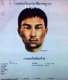 This image released Monday, Aug. 31, 2015, by the National Council for Peace and Order (NCPO) shows a sketch of an unidentified man who police say was living in the second apartment which was raided by authorities in Min Buri, in Bangkok's outskirts, and where police found fertilizer, gun powder, digital clocks and remote-controlled cars whose parts can be used for detonation. (National Council for Peace and Order via AP)