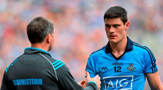 30 August 2015; Dublin's Diarmuid Connolly shakes hands with manager Jim Gavin after being shown a red card. GAA Football All-Ireland Senior Championship, Semi-Final, Dublin v Mayo, Croke Park, Dublin. Picture credit: Ramsey Cardy / SPORTSFILE