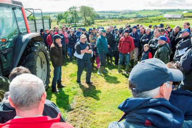 Pictured at a Dairygold/Teagasc Dairy Development Programme farm walk at Gurranreigh, Lissarda, Macroom, Co Cork on the role of zero grazed grass on a highly stocked dairy farm are speakers Dan Galvin, host and Adrian O'Callaghan, Teagasc Joint Programme Advisor addressing a section of the crowd. Photo O'Gorman Photography.