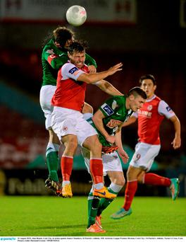 Alan Benett, Cork City, in action against James Chambers, St Patrick's Athletic. SSE Airtricity League Premier Division, Cork City v St Patrick's Athletic, Turner's Cross, Cork. Picture credit: Diarmuid Greene / SPORTSFILE
