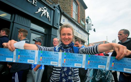 31/08/2015 Dublin GAA fan Darina Gallagher from Drumcondra after queueing to get tickets for the GAA senior Semi Final between Dublin & Mayo at the GAA Ticket office on Dorset Street, Dublin. Photo: Gareth Chaney Collins