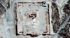 The site of the Temple of Bel before its destruction in Palmyra, Syria Credit: Airbus DS, UNITAR-UNOSAT