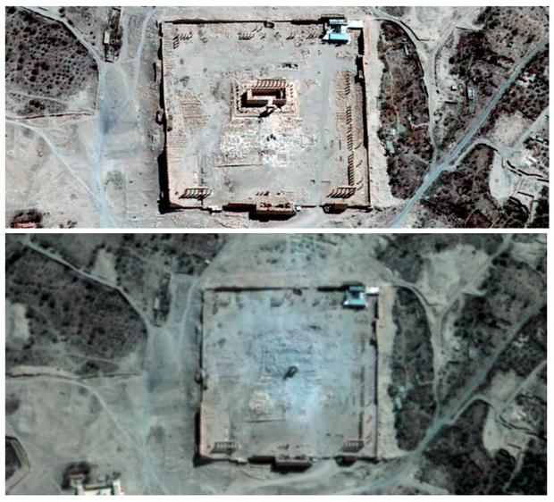 Combination picture shows the site of the Temple of Bel before and after its apparent destruction by ISIS Credit: REUTERS/ UNITAR-UNOSAT