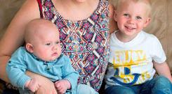 Simone Kenny and her children Quinn (5months) and Etienne (2) at their Cabra home