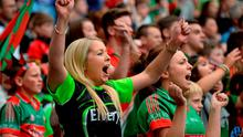 Mayo fans celebrate their side's equalising point near the end of the drawn game. GAA Football All-Ireland Senior Championship, Semi-Final, Dublin v Mayo, Croke Park, Dublin. Picture credit: Paul Mohan / SPORTSFILE
