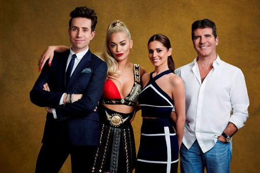 X Factor judges (left to right) Nick Grimshaw, Rita Ora, Cheryl Fernandez-Versini and Simon Cowell for the ITV1 talent show. Picture: SYCO/THAMES TV