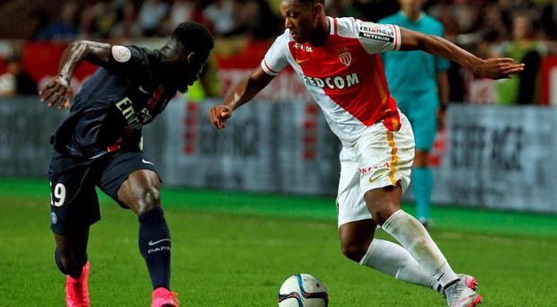 French forward Anthony Martial (R) in action for Monaco