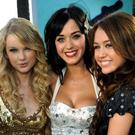 (L to R) Taylor Swift, Katy Perry and Miley Cyrus
