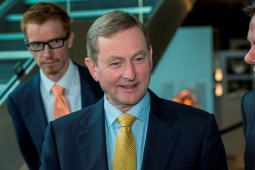 Tuesday 01 September 2015. Science Gallery TCD. Taoiseach Enda Kenny is met by RTE Director General, Noel Curran on right and Ronan Mac Con Ionaire, RTE Head of Language on left.