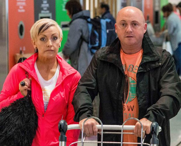 Dave Mahon and Audrey Fitzpatrick at the airport this morning