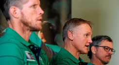 Ireland head coach Joe Schmidt with forwards coach Simon Easterby, left, and assistant coach Les Kiss