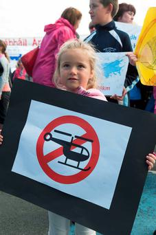 A child at the protest in Furbo, Co Galway