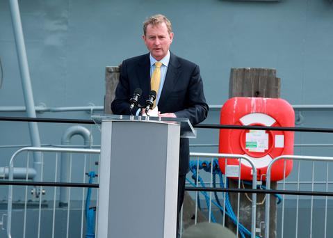 Taoiseach Enda Kenny during the commissioning ceremony for the LÉ James Joyce in Dublin yesterday. Photo: Frank McGrath